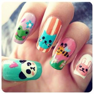 animal nails frog cat bee rabbit cute design - diseño de uñas animales rana panda gato abeja conejo  ♛