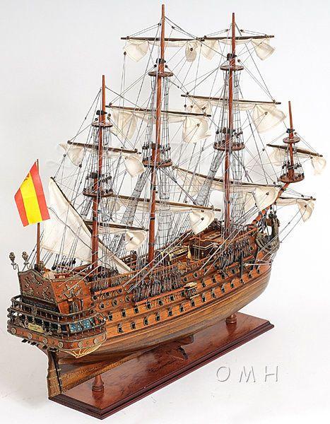 "San Felipe Tall Ship Wooden Model SailBoat Boat Fully Assembled 28"" New in Box"