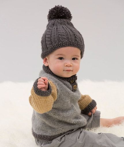 Handsome Sweater and Hat Free Knitting Pattern in Red Heart Yarns