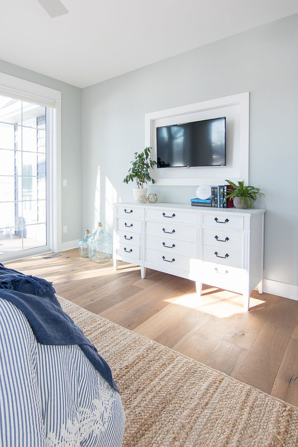 White And Blue Lake House Master Bedroom Master Bedroom Colors