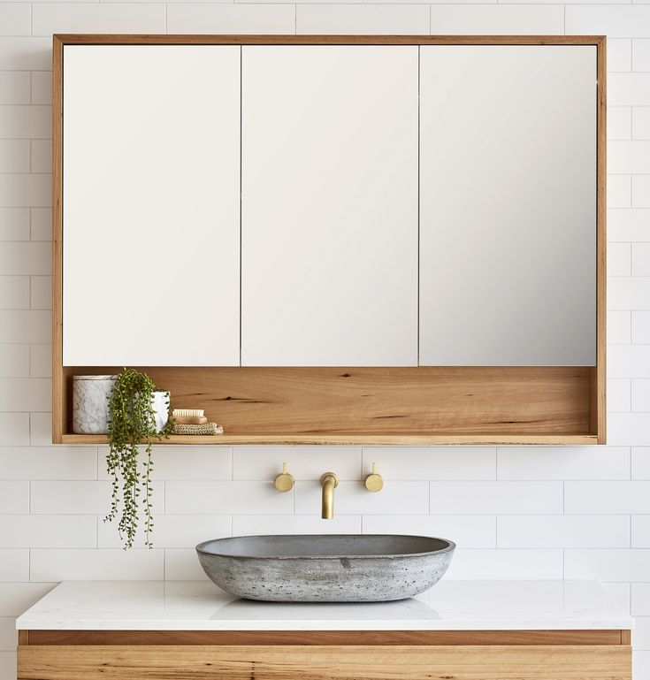 Loughlin Furniture Timber Shaving Cabinet with 3 Doors and Niche Shelf + concrete basin