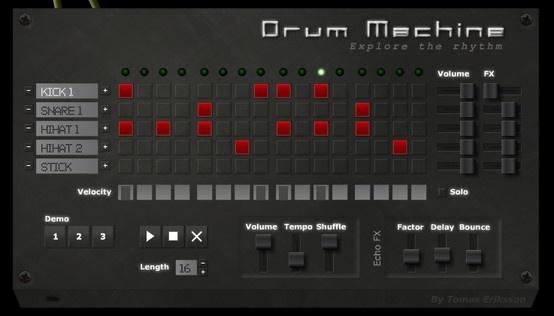 http://www.onemotion.com/flash/drum-machine/ Enkel trommemaskin, men likevel brukbart med muligheter. Fin å ta fram når du trenger en rytme i musikktimen. Eller la elevene eksperimentere med rytmer.