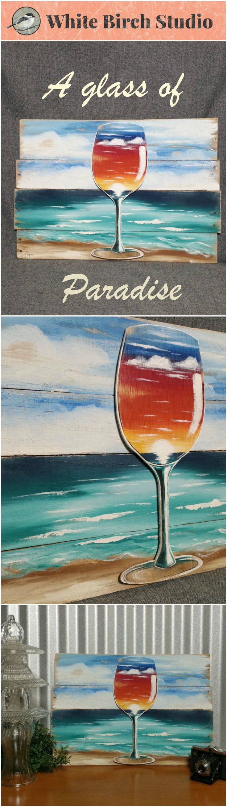 """Beach Painting Pallet art, Wine glass painting, Sunset painting, Distressed Wood Art seascape, Hand painted, upcycled pallet  Dimensions are APPROX. 22 1/2 inches wide x 15 1/2 inches high   This beach scene is painted on reclaimed wood. The wine glass is cut out of thin wood and has a sunset painted on it. A """"glass of paradise"""". This piece has been sanded for an aged effect."""