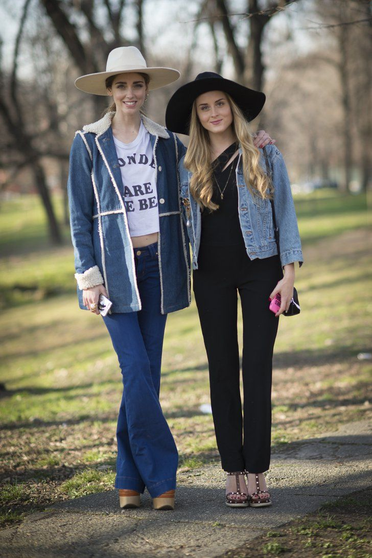 Pin for Later: Matching With Your BFF Is About to Be Your New Favorite Trend Western Wear Chiara Ferragni wearing vintage and Valentina Ferragni