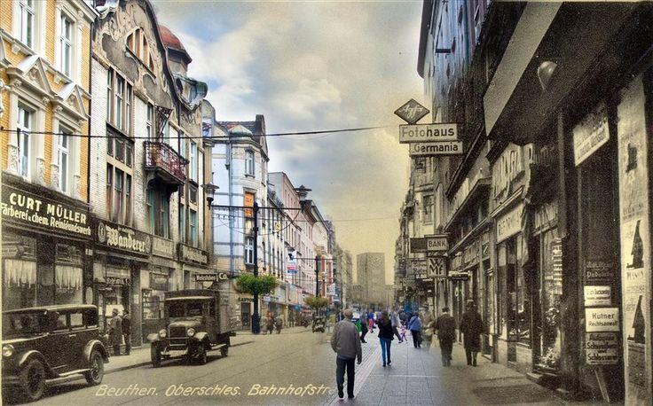Ulica Dworcowa w Bytomiu 1940 r. / 2014 r.