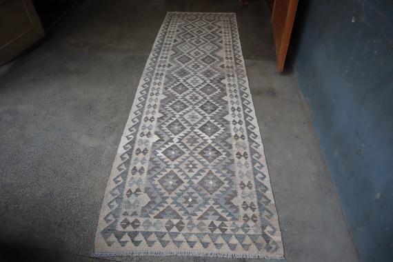 2.9 x 9.7 foot Vintage Hand made Afghan Natural Dye Maimina kilim Runner,-DISCOUNTED PRICE
