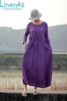 Natural Dyeing clothing women's linen and silk 100% handmade natural grape purple dyeing brief linen dress robe LinenAll YIJIU