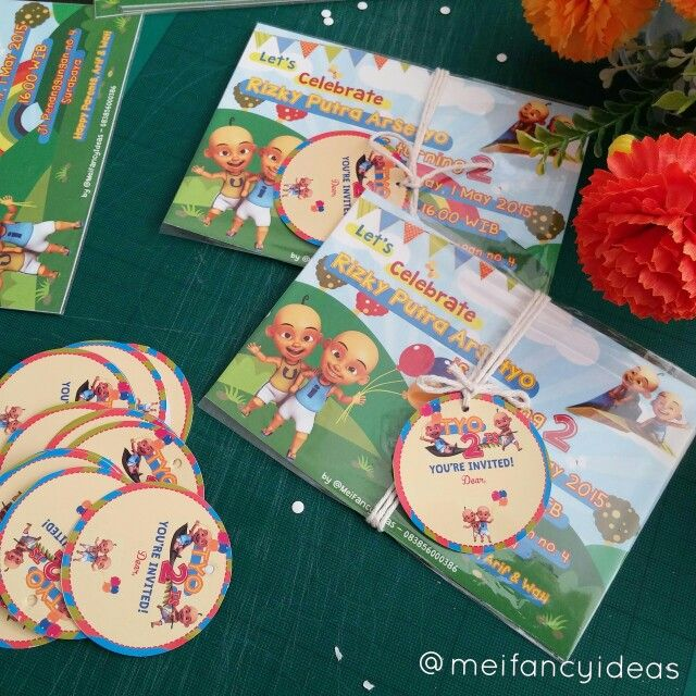 Upin Ipin Birthday Invitation  Postcard size, 1side   Follow IG. @meifancyideas