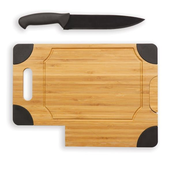 """Picnic Time Culina Cutting Board and Knife Set - Set of 2. The Culina is a cutting board and knife set that is compact and sleek enough to store in the narrowest of spaces. An integrated slot in the board secures the 7.25"""" carving knife which touts a black powder-coated blade."""