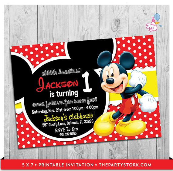 Mickey Mouse Party Invitations: printable boy 1st birthday invitation, digital kids invite, party printables DIY decorations coming soon