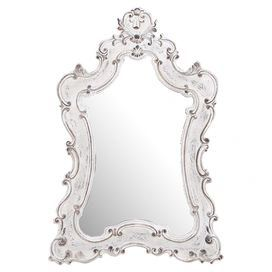 """Baroque-style wall mirror with an antiqued white frame. Product: Wall mirror Construction Material: Resin and mirrored glassColor: Antiqued whiteDimensions: 46"""" H x 33"""" W"""