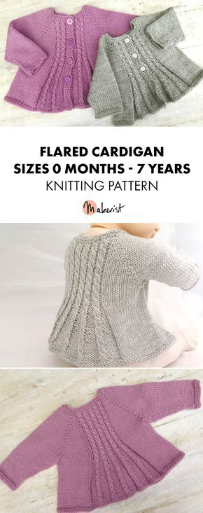 Knitting pattern available on Makerist! Billy's Girl is a delightfully whimsical cardigan pattern,inspired by Vintage patterns