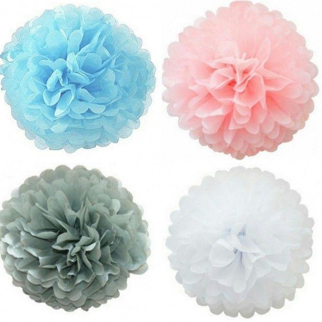 Pompomer+I+Flere+Farger+ +Baby+Shower+-+Det+Lille+Ekstra+Til+Din+Baby+Shower.+Gaver+-+Pynt+-+Bleiekaker+-+Alt+Til+Dåp,+Navnefest+og+Baby+Shower+