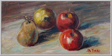 Mario Tozzi 1919: Frutta sul Tavolo. Olio su Cartone, riportato su Tavola cm.(20x40)  Collezione Privata Lucca  Archivio numero 2350.