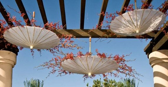 Hanging Parasol with preserved birch branch orchids.  I love the idea of using upside down parasols as sort of a planter hanging.  Would definitely make nice visual impact in wedding decor.