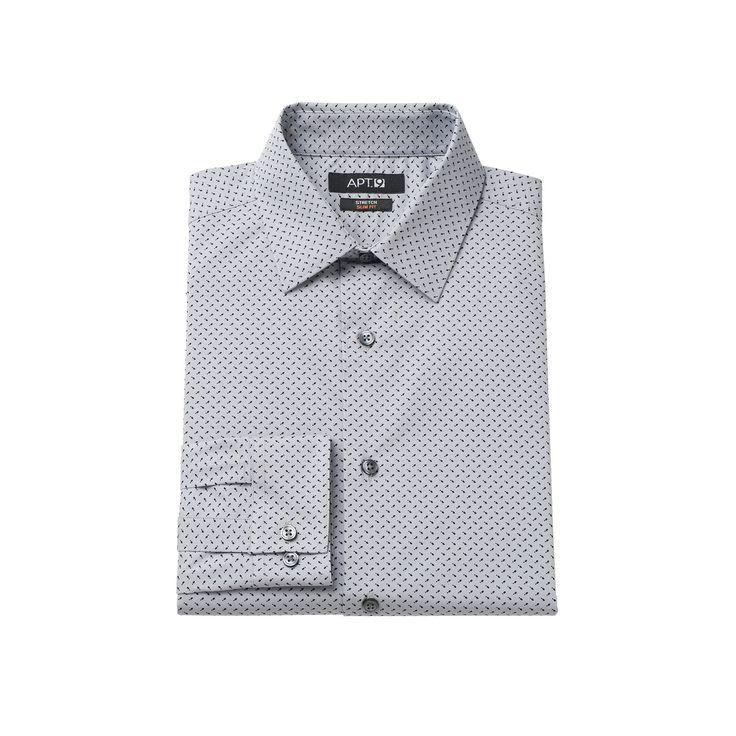 Men's Apt. 9® Slim-Fit Stretch Spread-Collar Dress Shirt, Size: 14.5-32/33, Grey