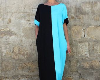 NEW SS16 Maxi dress, Black and Turquoise Caftan, Plus size dress, Caftan Dress, Summer Maxi Dress,Oversized Dress,Cover-Up Dress,Beach dress
