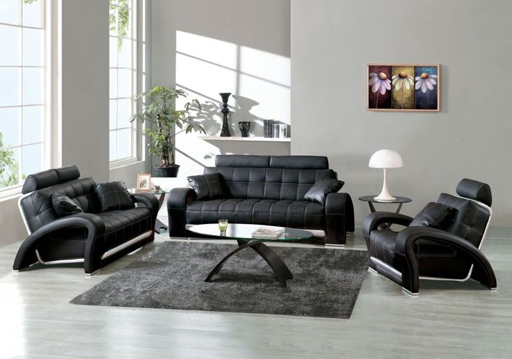 Best Living Room Design Ideas With Modern Black Leather Sofa And Grey Wall Paint Color Also Using Wood Flooring Idea