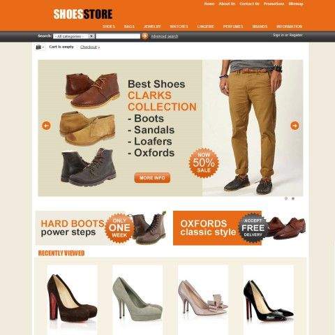 "Shoes Store CS-Cart Template is specially designed for Woman`s and Man`s Shoes. There are Boots, Heels, Sandals, Sneakers & Athletic, Loafers, Oxfords. Garmonical colors combination of orange and grey. Accordion Slogan ""Best decorate our store are our products"". It is very nice with its clean and professional look."