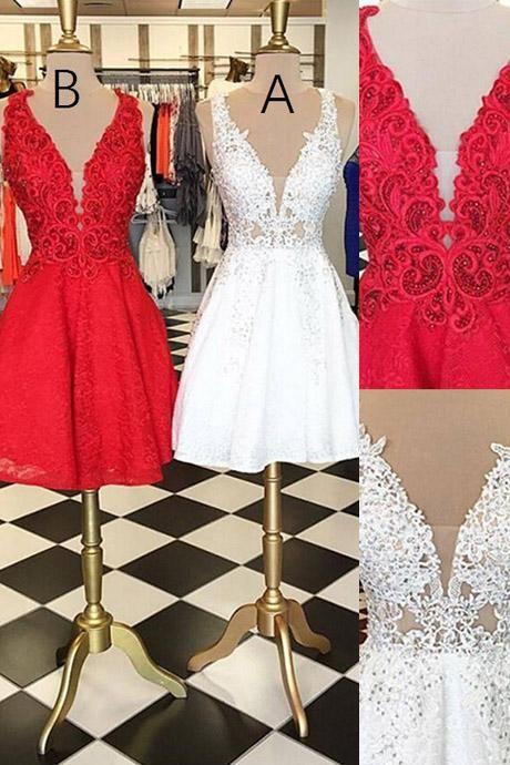 acabc991336 Stylish V-neck Sleeveless White Lace Short Homecoming Dress Beaded ...