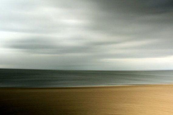 Abstract Seascape Brown Blue Grey Seashore Art Modern