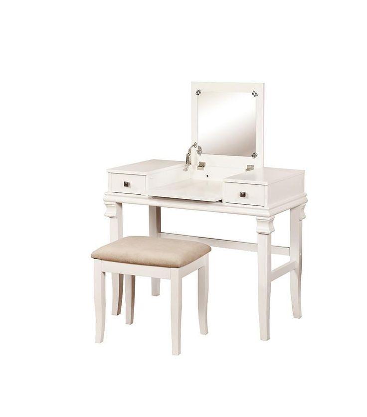 Linon 98373WHT-01-KD-U Angela White Vanity Set