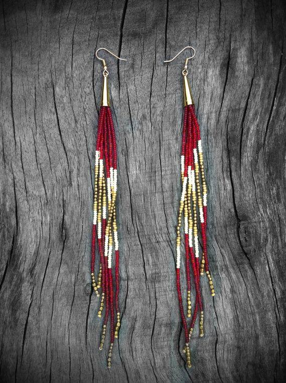 Royal Ruby Shoulder Dusters Long Beaded Fringe Earrings von Kadhi
