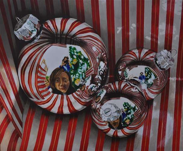 Ornaments, portrait drawing with reflected image