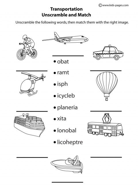 transportation unscramble b w worksheets clipart atividades de ingles dicas de ingles e. Black Bedroom Furniture Sets. Home Design Ideas