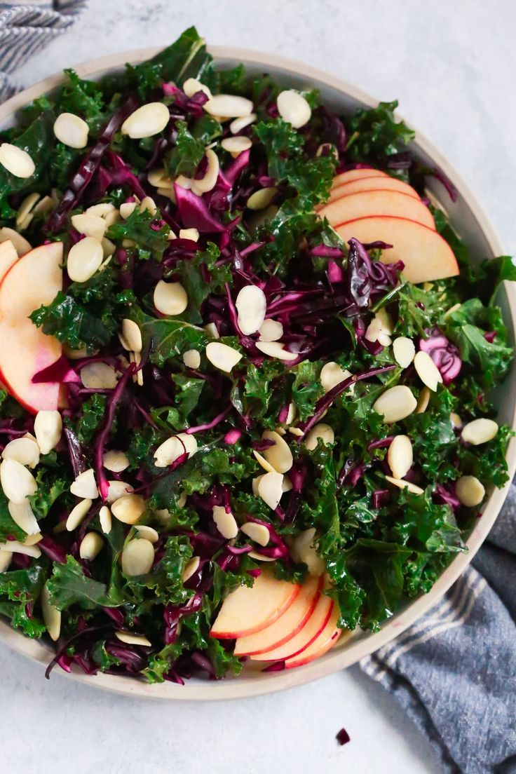 Easy, quick and delicious Chopped Red Cabbage Kale Salad to keep you healthy during the cold weather. It's gluten-free, low-carb and paleo friendly.