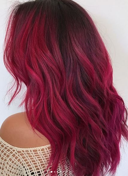 cool magenta toned red hair