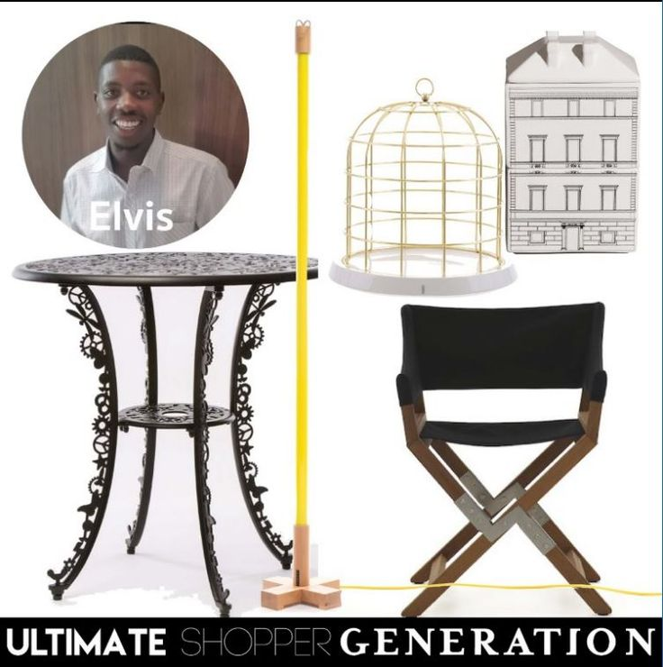 Elvis Chose simple lines and and a dash of colour, with a tuch of glam from the Twitable cage, the architectural Palazzo jars and a practical and stylish Sundance indoor/outdoor chair. He added a burst of colour with a yellow Linea light and and the rock and roll outdoor Industry collection table by Studio Job. All seletti, available on our website.