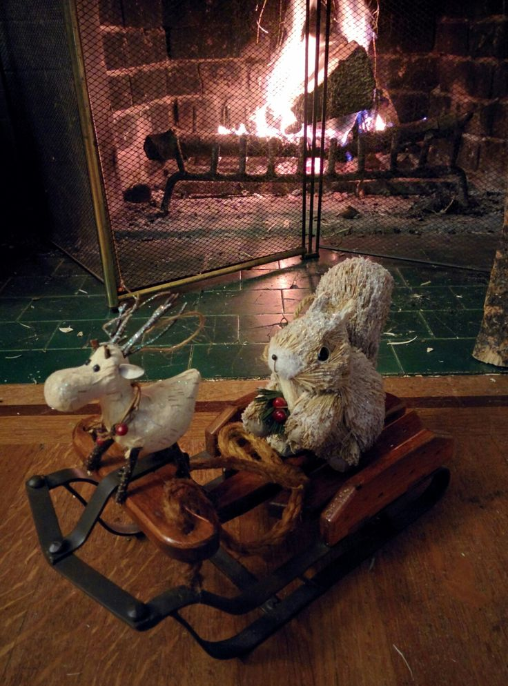 Squirrel & Deer on a wooden sled winter / Christmas decoration. Cute on a table top or a mantel or even as a woodland / rustic centre piece.