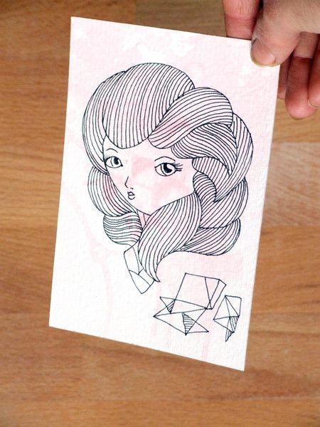 Antoinette+-+illustrazione+inchiostro+di+Valeria+Draws+su+DaWanda.com