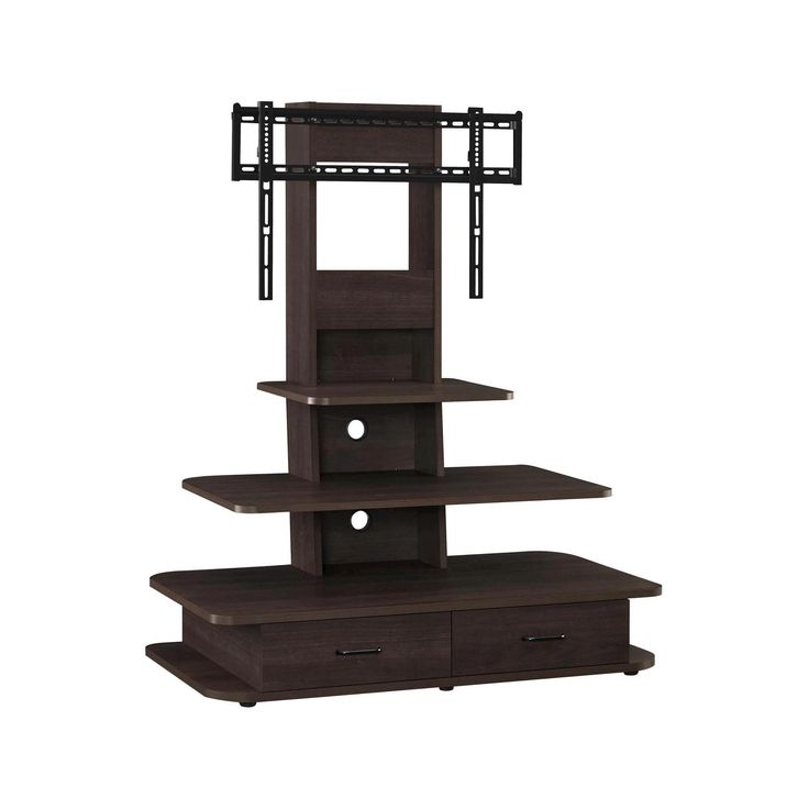 Galaxy 70 TV Stand with Mount and Drawers - Dark Walnut (Brown) - Altra
