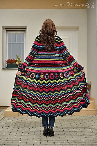 Ravelry: Crochet coat Maxi Psychedelic pattern by Fashion Martina