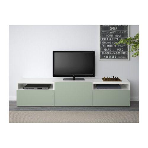 BESTÅ Tv-meubel - wit/Lappviken groen, laderail, druk-en-open - IKEA