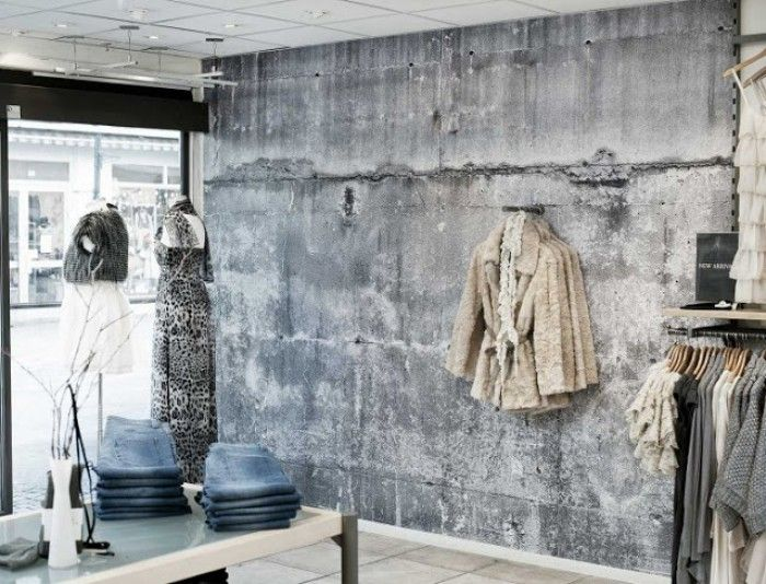 Betonlook behang verf - industrieel interieur