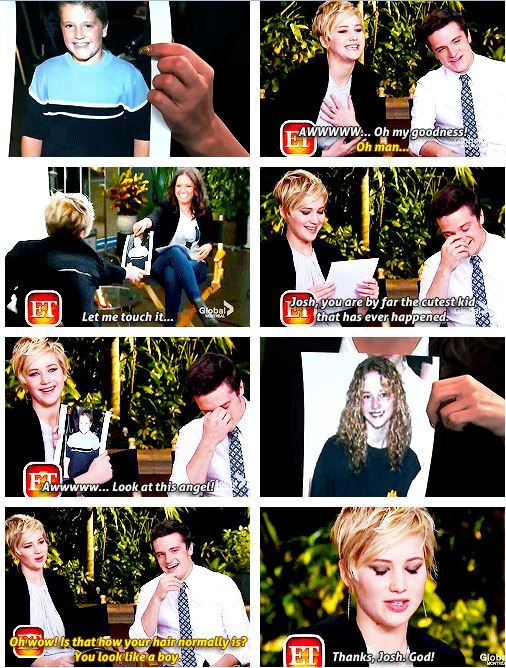 Josh and Jen's reactions to each other's pictures of their younger selves - i love jlaw's reaction to josh pic but i wish they pic something more cuter because there are tons of josh cute younger cute pics out there and for jlaw well there is rare photos of her younger age but i mean they could have ask their publicist for it..