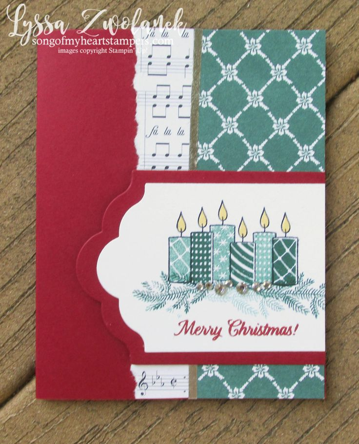 Merry Patterns Christmas stamp set free stampin up hostess Lyssa Tranquil Tide holiday card