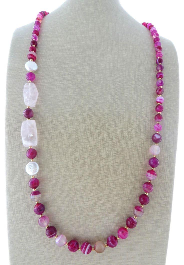 Collana con agata fucsia, quarzo rosa e perle naturali, gioielli pietre dure…