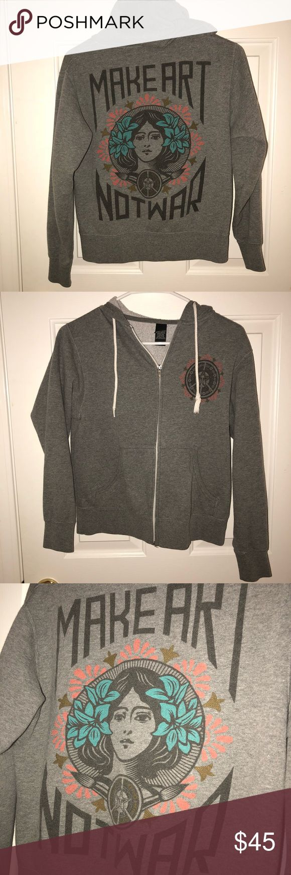 Obey Make Art Not War Grey Zip Up Hoodie Obey Make Art Not War Grey Zip Up Hoodie.  OG version, hard to find! Size small. Fits XS-S.  Only flaw is the aglet came off on the left string. Luckily, these strings can be easily replaced! :) Obey Jackets & Coats