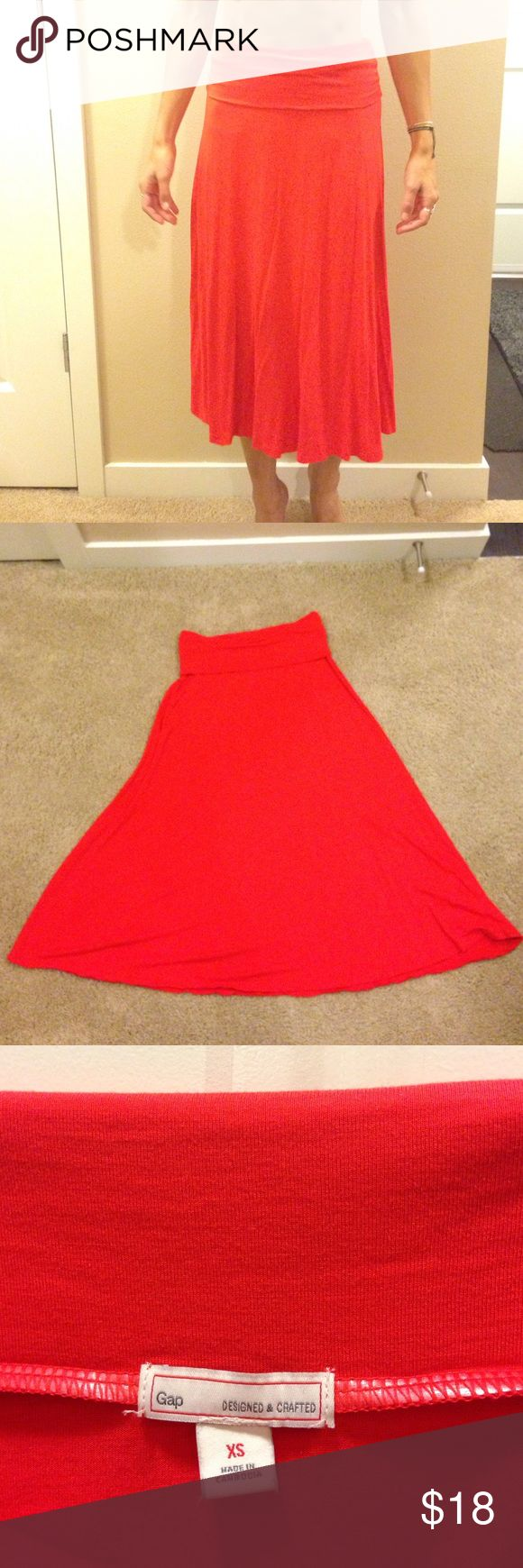 Bright, Flowy Gap Skirt Bright, coral, A-line, below the knee skirt. 100% viscose. GAP Skirts A-Line or Full