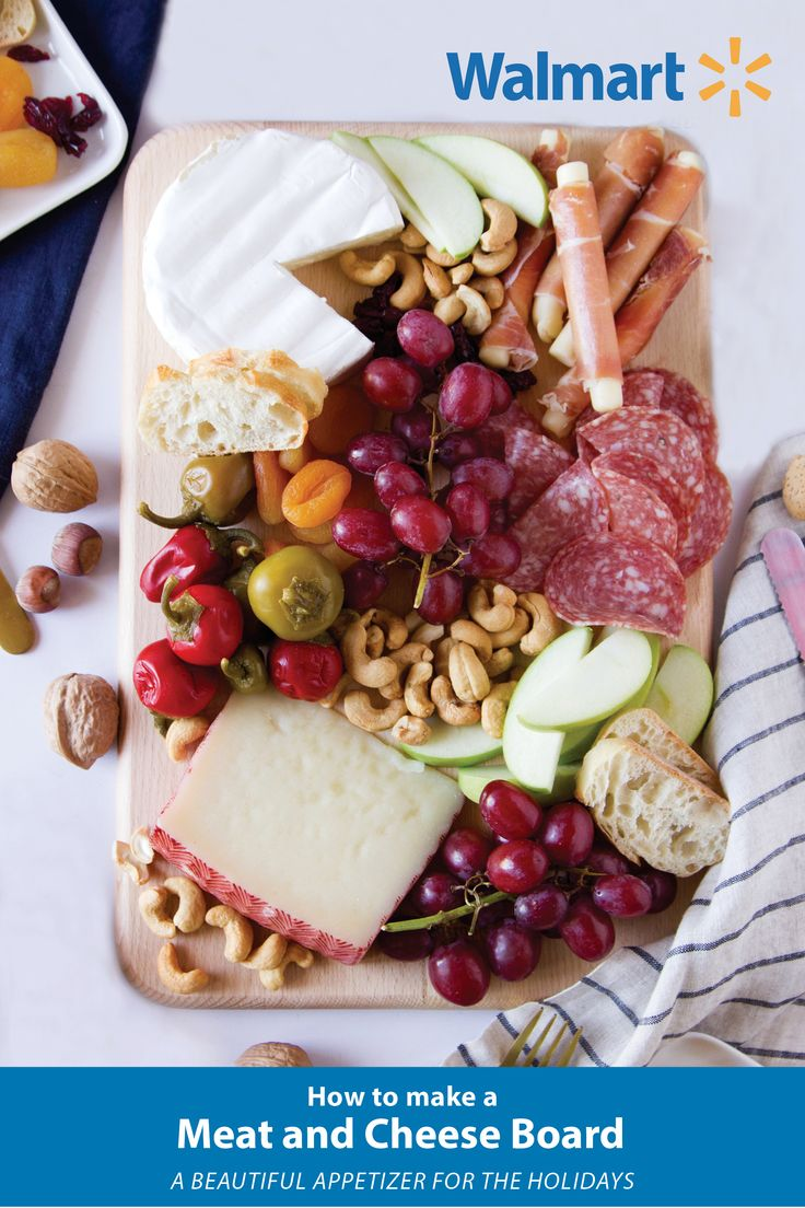 The perfect holiday appetizer - learn how to make a simple Meat & Cheese Board. Head to your Walmart for all of the ingredients!