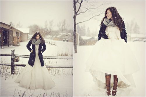 Get creative with the dress!!!! Aka... For a winter wedding, use boots ...