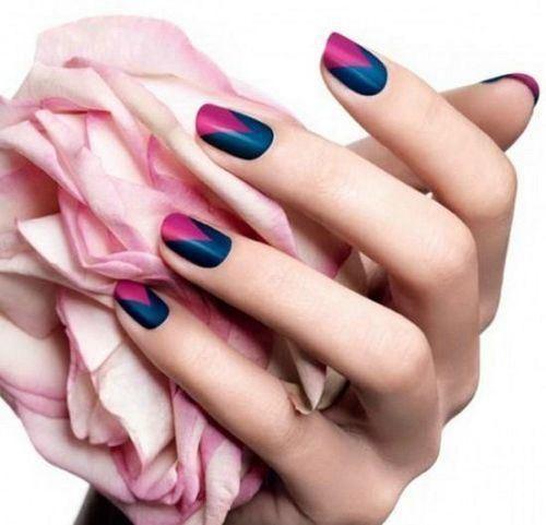uñas decoradas azul y rosa                                                                                                                                                     Más