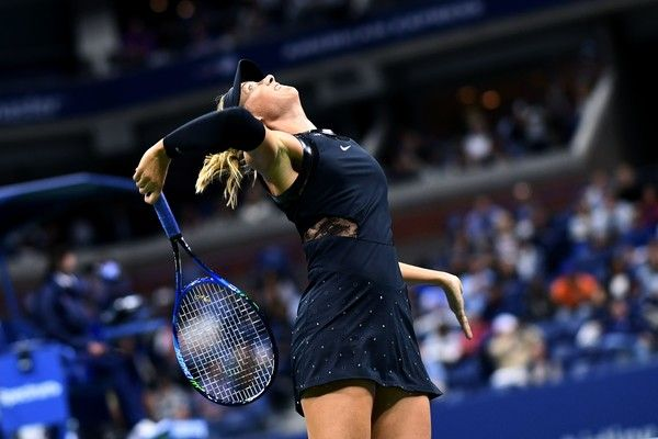 Russia's Maria Sharapova serves the ball against Sofia Kenin of the US during their 2017 US Open Women's Singles match at the USTA Billie Jean King National Tennis Center in New York on September 1, 2017. / AFP PHOTO / Jewel SAMAD - 863 of 962