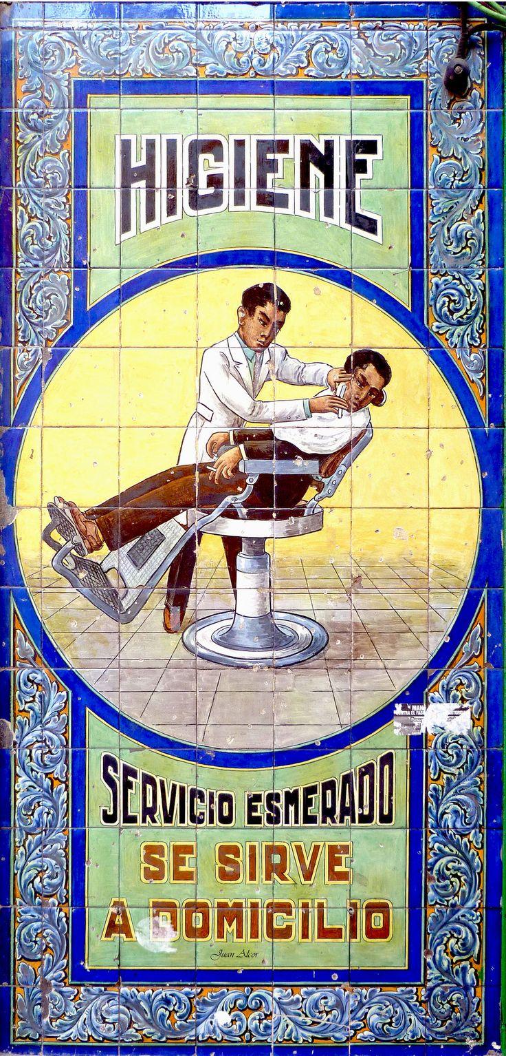 https://flic.kr/p/nkVraC   Azulejos. Antiguo Salón de Peluquería   Firmado por Casa Mensaque (Madrid). Leyenda: Higiene / Servicio Esmerado / Se sirve / a domicilio