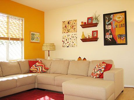 colorful rooms | Kelly's Orange You A Happy Family Room | Apartment Therapy