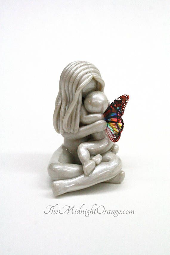 This bereavement gift for child loss is a delicate way to remember a child who said goodbye too soon. My mother and angel sculptures are each handmade by me to your tender specification. Please see the wing chart in the photos above to help you personalize your custom sculpture. In